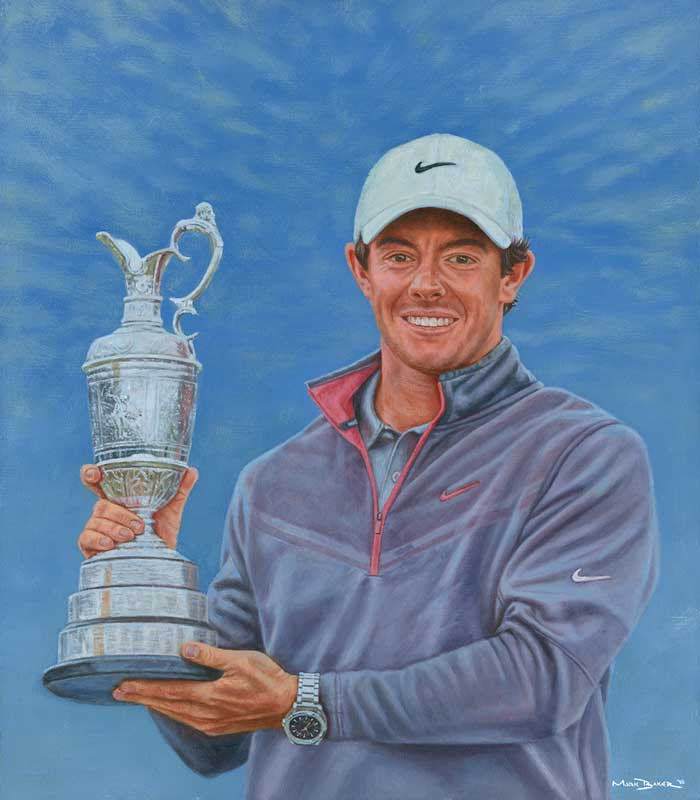 Rory McIlroy with cup, scanned image of original painting